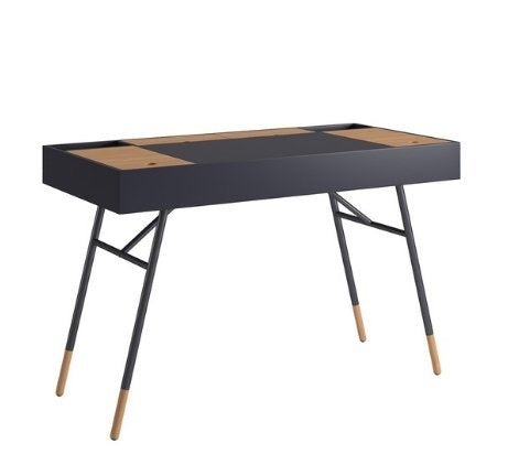 Modern Retro Two Toned 4 Compartment Writing Desk with Tapered Legs (Navy Black)