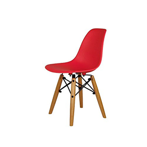 ModHaus Mid Century Modern CHILDREN KIDS Red DSW Chair with Wood Dowel Base Inpired by Eames design - HIGH QUALITY Matte Finish
