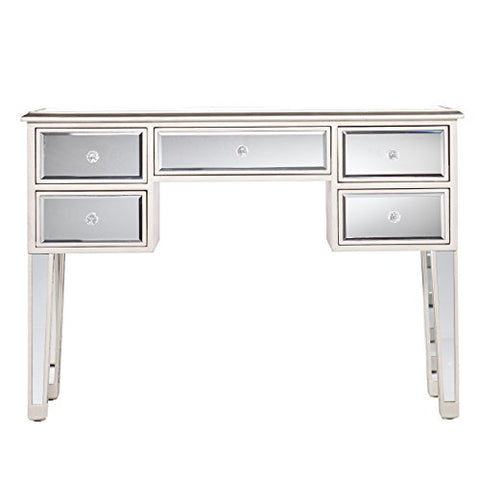 Modern Mirrored Accent Console Sofa Table with 5 Drawers