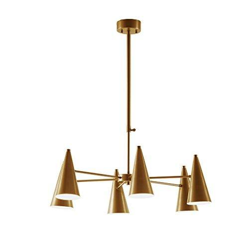 Mid Century Modern Sputnik Chandelier with 6 Spun Cone Arms in Antique Gold Finish