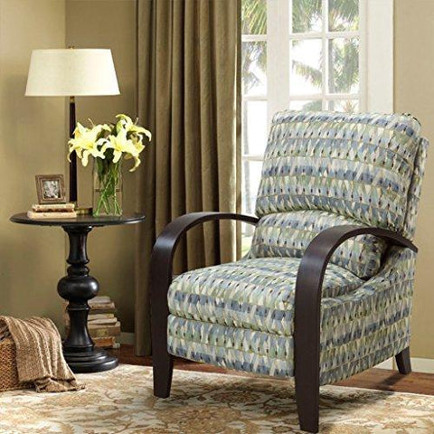 Mid Century Retro Blue and Green Abstract Print Reclining Upholstered Chair with Curved Bent Arm