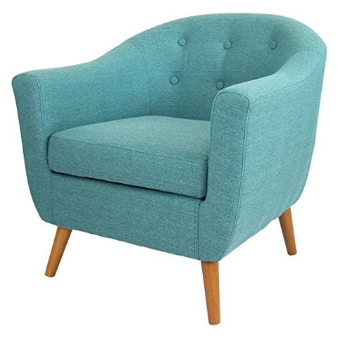 Mid Century Modern Style Teal Button-tufted Upholstered Tub Accent Armchair with Wood Legs