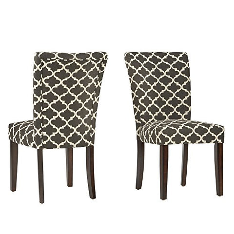 Modern Dark Gray/Black Fabric Moroccan Quatrefoil Pattern Parsons Style Dining Chairs | Wooden Brown Legs - Set of 2