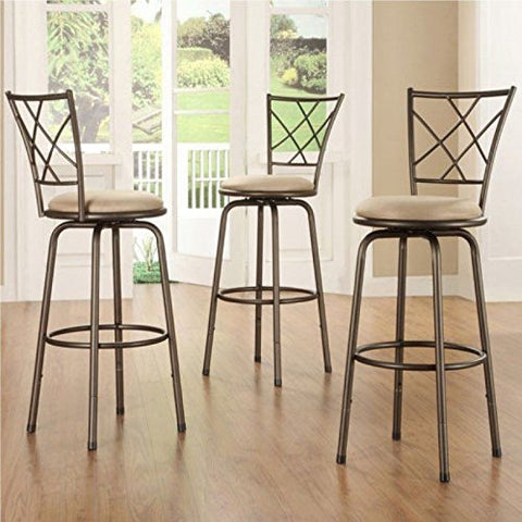 Home Creek Crossed Detail Adjustable Swivel Barstools - Set of 3