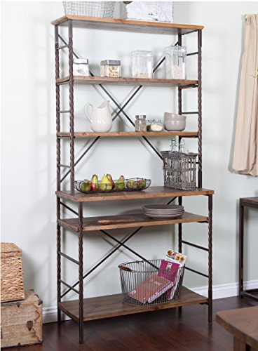 Industrial Rustic 6 Tier Metal with Adjustable Wood Shelves Bakers Rack for Kitchens