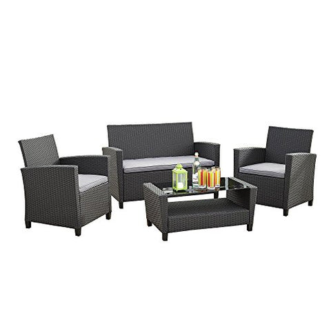 Modern Outdoor Patio 4 Piece Set in Gray Resin Wicker with Light Gray Cushions - Loveseat, Chairs and Coffee Table