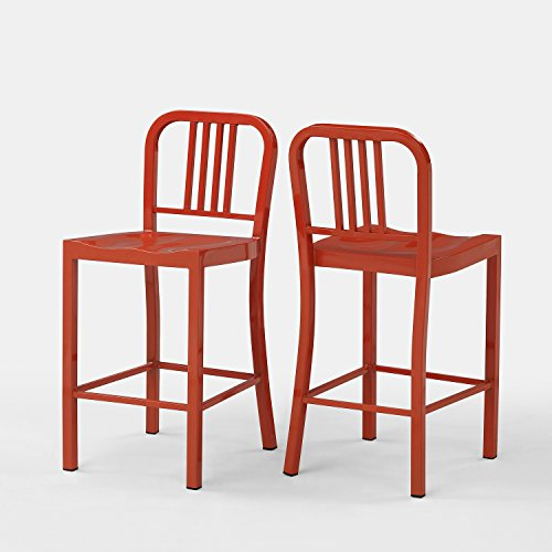 Set of 2 Orange Metal Counter Stools with Back in Glossy Powder Coated Finish Steel Dining Indoor
