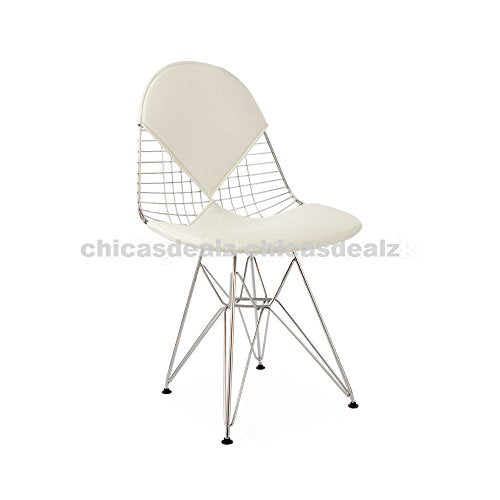 Mid Century Modern Eames Style DKR Chrome Wire Side Dining Chair with White Bikini Seat & Back Cover