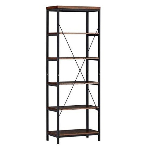 Industrial Rustic Style Black Metal Frame 6 Tier 26 Inches Horizontal Bookshelf Storage Media Tower Dark Brown Finish Living Room Decor 26 Inches