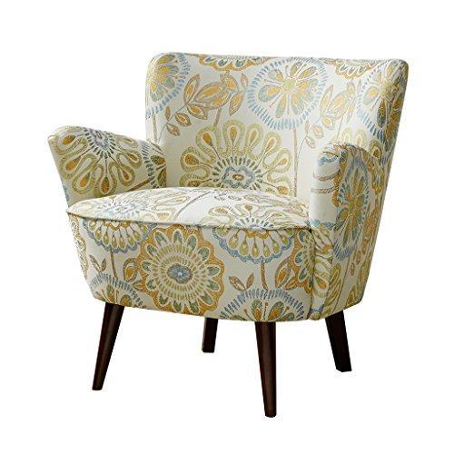 Enjoyable Mid Century Retro Style Yellow And Blue Floral Print Upholstered Accent Armchair With Tapered Espresso Wood Legs Inzonedesignstudio Interior Chair Design Inzonedesignstudiocom