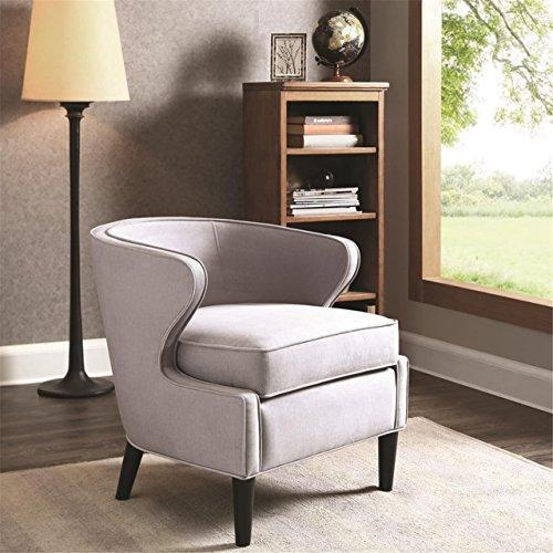 Contemporary Gray Upholstered Barrel Accent Armchair with Dark Wood Legs