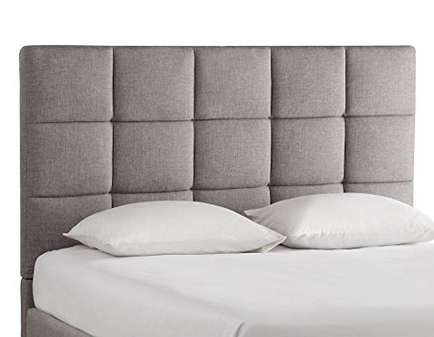 Modern Multi Square Panel Gray Upholstered Padded Queen Headboard