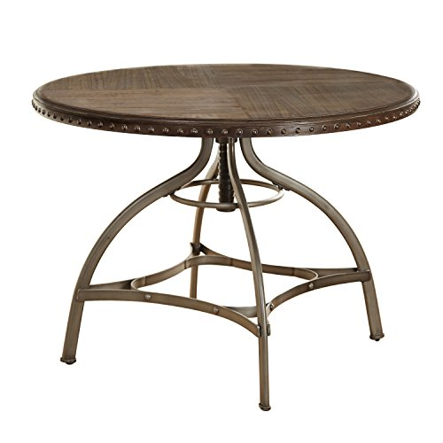 Modern Industrial Reclaimed Wood Swivel Dining Table with Nailhead Trim and Metal Frame