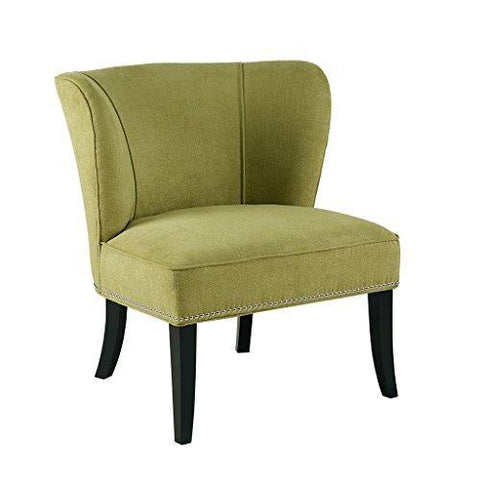 Contemporary Green Upholstered Armless Accent Chair with Nailhead Trim and Dark Wood Legs