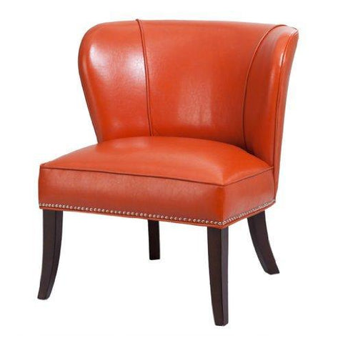 Awe Inspiring Contemporary Orange Faux Leather Upholstered Armless Accent Chair With Nailhead Trim And Dark Wood Legs Inzonedesignstudio Interior Chair Design Inzonedesignstudiocom