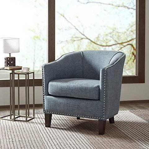 Mid Century Modern Blue Upholstered Tub Accent Armchair With Nailhead U2013  ModHaus Living