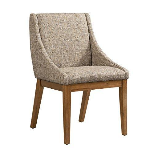 Mid Century Modern Multi Toned Fabric Upholstery Set of 2 Dining Chairs with Curved Arms and Solid Wood Legs
