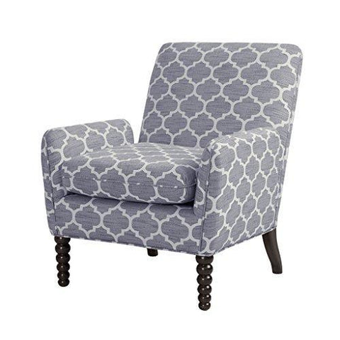 Contemporary Gray Moroccan Print Upholstered Accent Armchair with Front Wood Spindle Legs