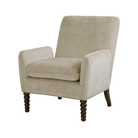 Contemporary Beige Upholstered Accent Armchair with Front Wood Spindle Legs