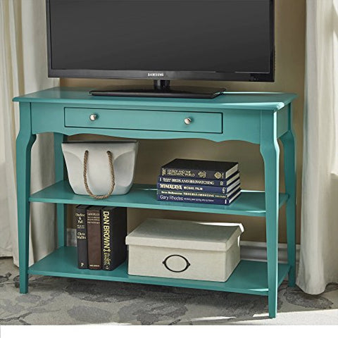 Modern Wood TV Stand Accent Console Sofa Table with 1 Drawer and 2 Open Shelves (Teal Green)