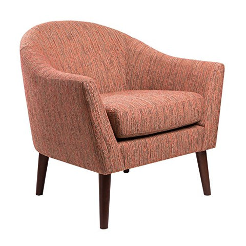 Mid Century Retro Style Rust Clay Chenille Upholstered Accent Armchair