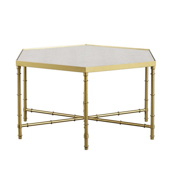 Hexagon Gold Coffee Cocktail Table with Antique Mirror Top