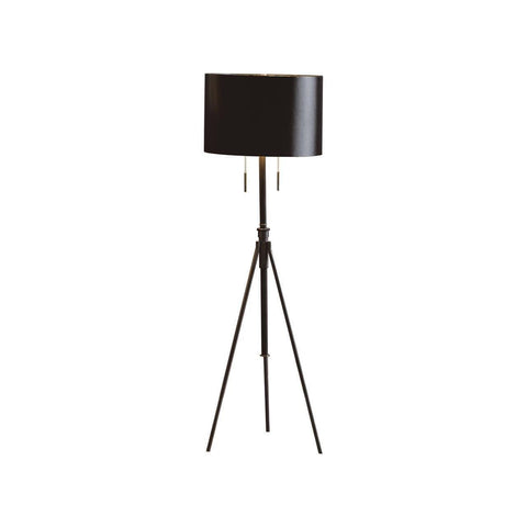 Mid Century Modern Black Metal Tripod Floor Lamp with Black Shade