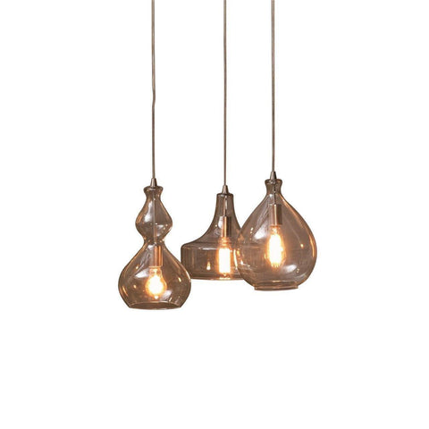 Modern Rustic Clear Glass Shade Trio Chandelier Pendant Lights