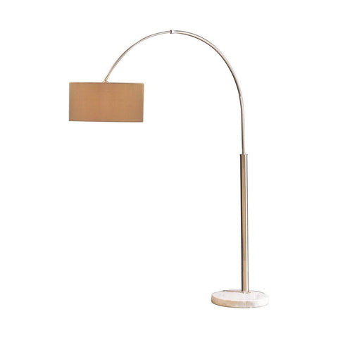 Mid Century Modern Arc Floor Lamp With White Marble Base