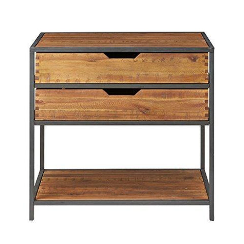 Modern Rustic Industrial Acacia Wood and Metal Entryway Chest Console Sofa Table