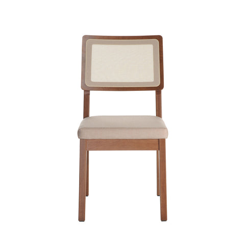 Stupendous Mid Century Modern Upholstered Seat Set Of 2 Low Open Back Dining Chairs With Solid Wood Legs Dark Beige Dailytribune Chair Design For Home Dailytribuneorg