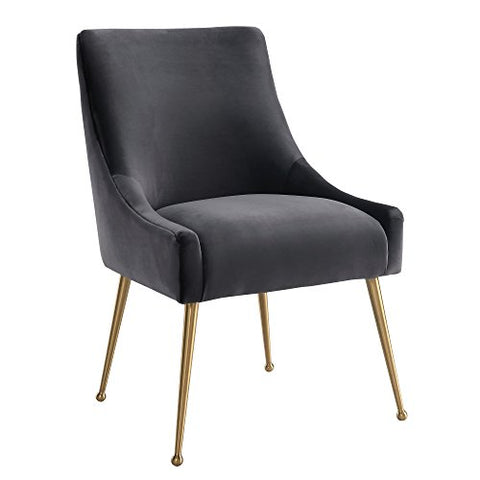 Contemporary Gray Velvet Upholstery Accent Side Chair with Gold Stainless Steel Legs