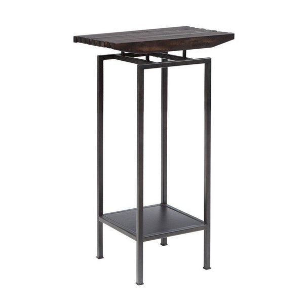 Industrial Rustic Mahogany Wood Slat 36 inch Pedestal End Side Table with Metal Base