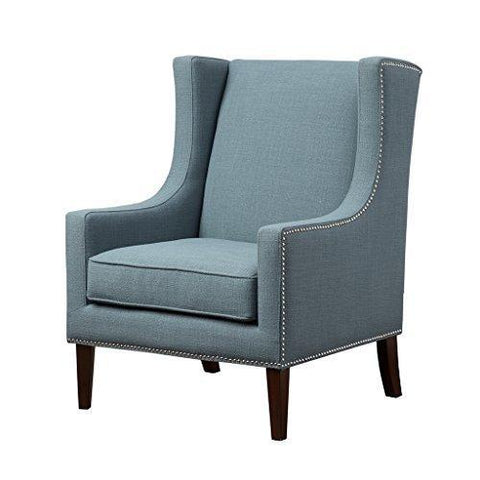 Contemporary Wingback Upholstered Blue Accent Chair with Nailhead Trim