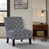 Contemporary Navy Blue and White Square Print Upholstered Armless Accent Chair with Nailhead Trim and Dark Wood Legs