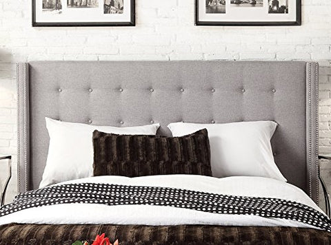 Modern Button Tufted Wingback Gray Upholstered Padded Headboard with Metal Nailheads