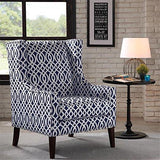 Contemporary Wingback Upholstered Navy Blue and Off White Lattice print Accent Chair with Nailhead Trim