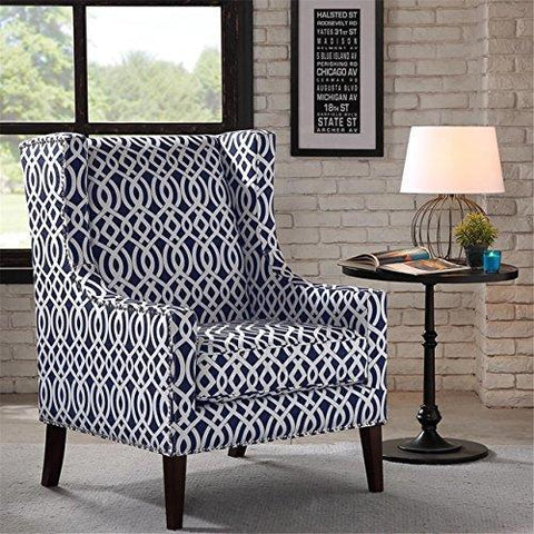 Fine Contemporary Wingback Upholstered Navy Blue And Off White Lattice Print Accent Chair With Nailhead Trim Uwap Interior Chair Design Uwaporg