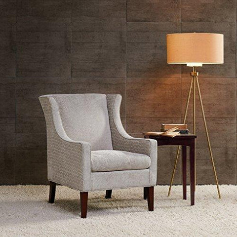 Contemporary Cream Beige Upholstered Wingback Armchair with Brown Wood Legs