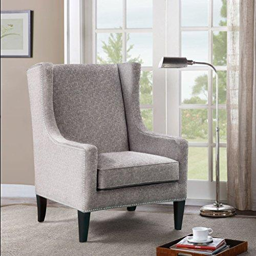 Contemporary Wingback Upholstered Brown Accent Chair with Nailhead Trim