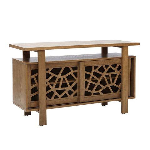 Modern Medium Brown Wood Buffet Sideboard with Adjustable Shelves and Sliding Doors