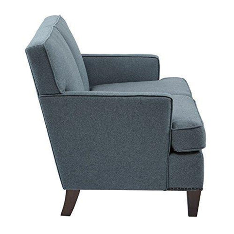 Stupendous Modern Dark Grey Upholstered Accent Sofa Chair With Bronze Nailheads And Espresso Wood Legs Loveseat Machost Co Dining Chair Design Ideas Machostcouk
