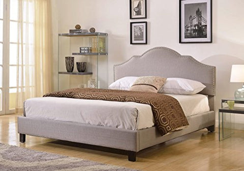 Modern Gray Linen Upholstered Arch Queen Headboard with Nailheads & Platform Bed