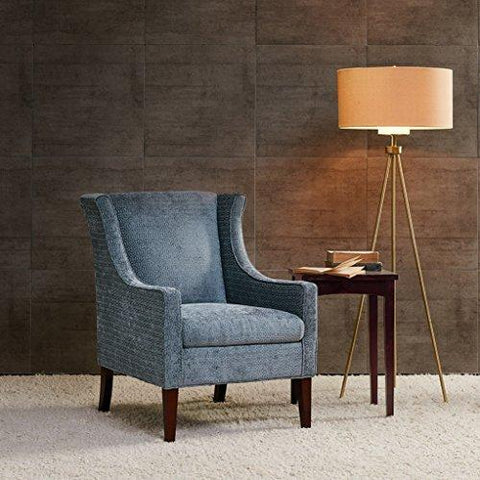 Contemporary Gray Blue Upholstered Wingback Armchair with Brown Wood Legs