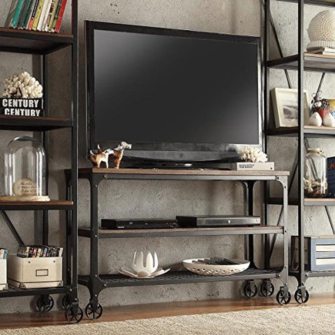 Modern Industrial Rustic Riveted Metal & Wood TV Stand with Decorative Wheels
