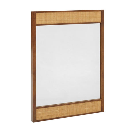 Wood and Rattan Inset Wall Mounted Decorative Rectangular Mirror 30 x 42