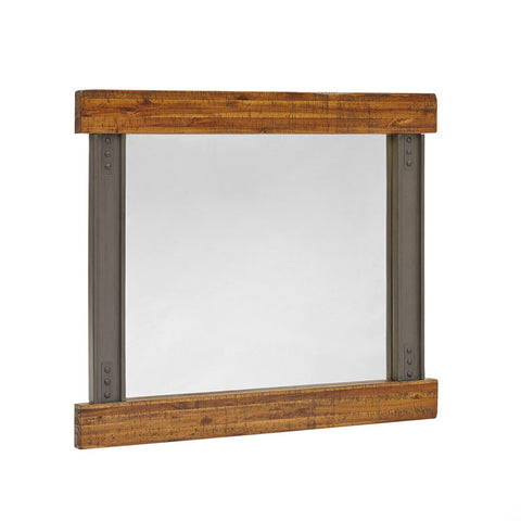 Industrial Rustic Acacia Wood and Metal Frame Wall Mounted Decorative Rectangular Mirror 42 x 36