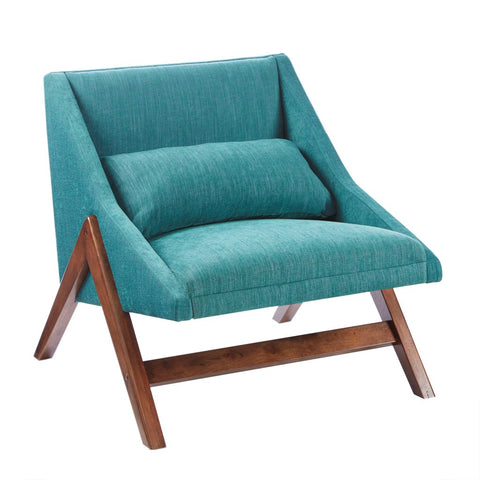 Retro Modern Teal Accent Lounge Chair with Lumbar Throw Pillow