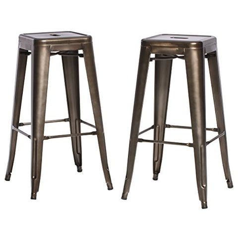 Set of 2 Bronze French Bistro Tolix Style Metal Bar Stools in Glossy Powder Coated Finish