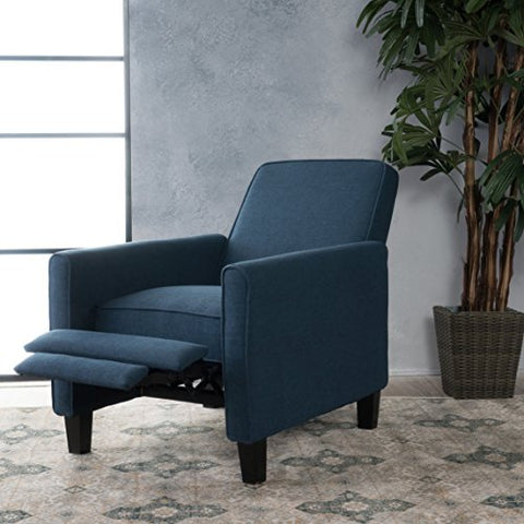 Modern Transitional Upholstered Recliner Club Chair with Solid Wood Frame and Feet (Dark Blue)